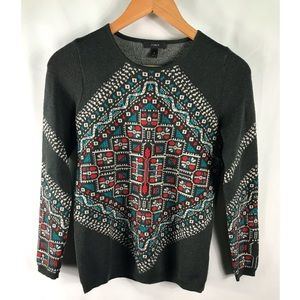 J. Crew Womens XS Green, Red, Blue Holiday Sweater